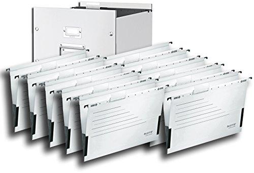 Leitz 6046 Archiv-Hängebox Click & Store, Ablage- und Transportbox für Hängeregistratur mit Deckel, A4 (Weiß + Hängetaschen weiß)