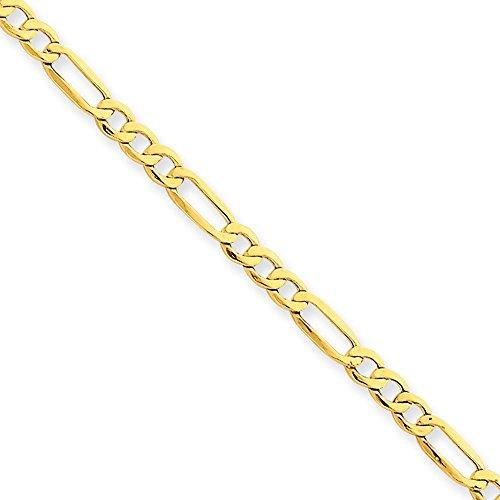 14k oro giallo 3,5 millimetri Semi massiccio Figaro catena