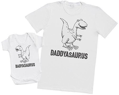 Zarlivia Clothing Daddysaurus & Babysaurus - Regalo para Padres y bebés en un Cuerpo para bebés y una Camiseta de Hombre a Juego - Blanco - Large & 0-3 Meses