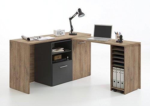 wohnschoen-zuhause Sideboard Schreibtisch Computer Kommode Liam in sterlingeiche-anthrazit