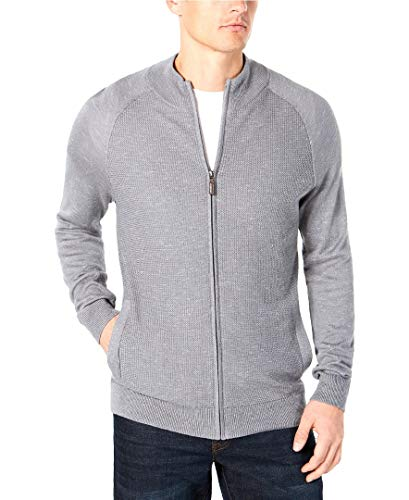 Club Room Mens Textured Zip Up Cardigan Sweater Silver L