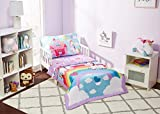 EVERYDAY KIDS 4 Piece Toddler Bedding Set - Unicorn Dreams - Includes Comforter, Flat Sheet, Fitted Sheet and Reversible Pillowcase