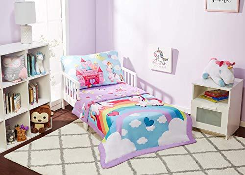EVERYDAY KIDS 4-teiliges Kinder-Bettwäsche-Set – Unicorn Dreams – inklusive Bettdecke, Bettlaken, Spannbetttuch und wendbarem Kissenbezug