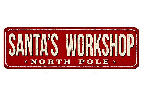 Losea Santa's Workshop Metal Retro Wall Decor Vintage Tin Signs for Home Bar Coffee 4x16 Inches