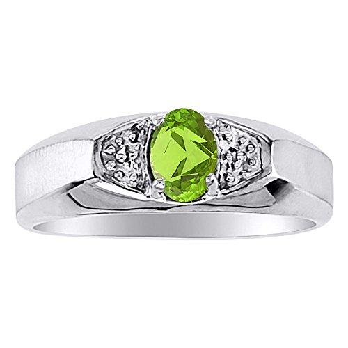 Anillo de Birthstone 14K Amarillo o 14K oro blanco Peridot anillo