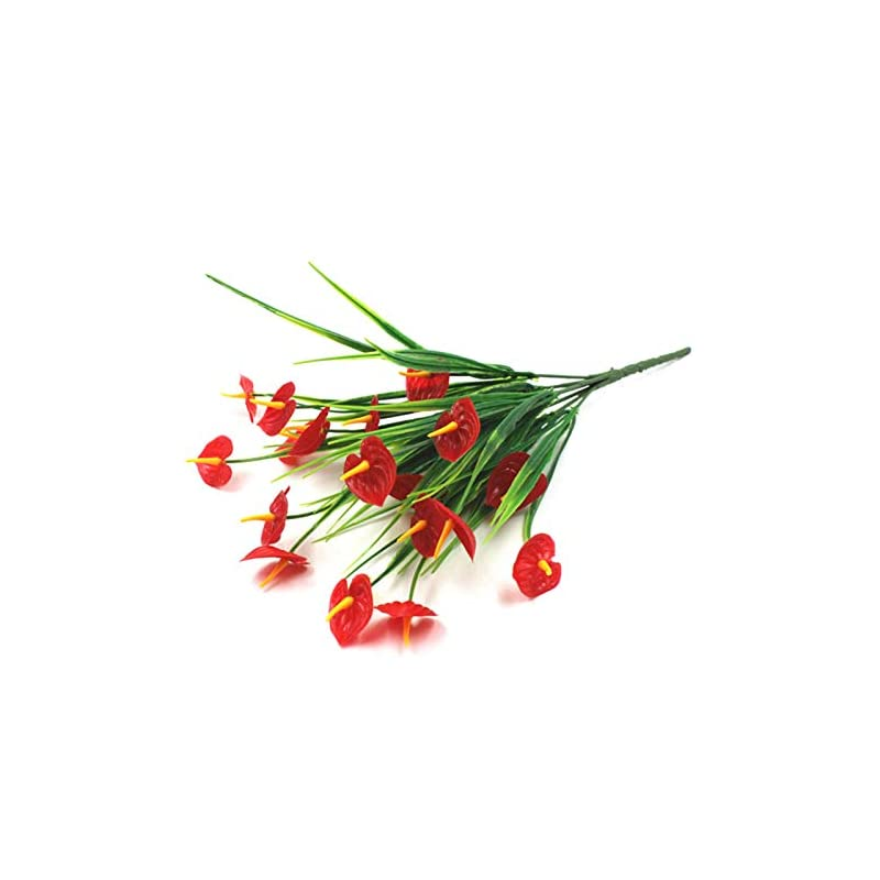 silk flower arrangements goforwealth artificial flowers, artificial anthurium flower fake plastic bouquet greenery party supplies greenery faux plants shrubs plastic bushes for home wedding party table decor