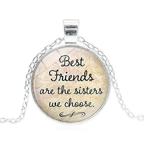 U-M PULABO Best Friends are the Sisters We Choose Cita, collar de amistad para amigos, collar de plata de servicio práctico elegante