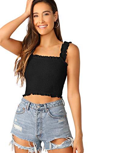 SheIn Women's Casual Frill Smocked Crop Cami Tank Shirred Strap Sleeveless Top Black Medium