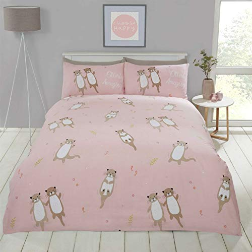 Bedding Heaven OTTERLY AMAZING Cute, Playful Otter Print Duvet Cover Set - Coral Single