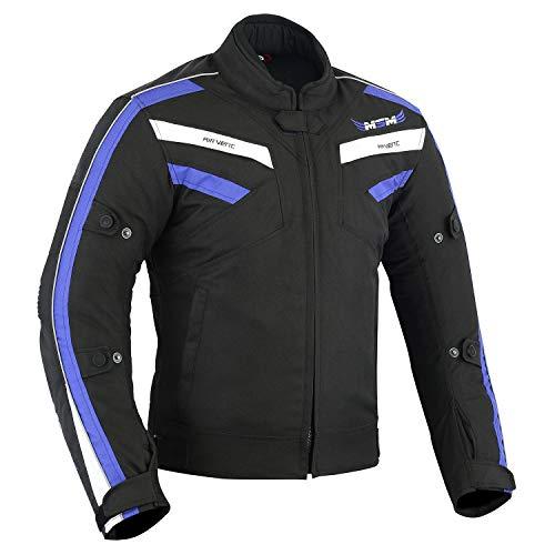 Chaqueta textil para hombre para motocicleta, impermeable, con protección de cordura, impermeable, transpirable, color azul