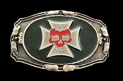 Ride Hard Live Free Super beauty product restock quality top Topics on TV Red Skull Gothic Buckle Belt Punk Cross