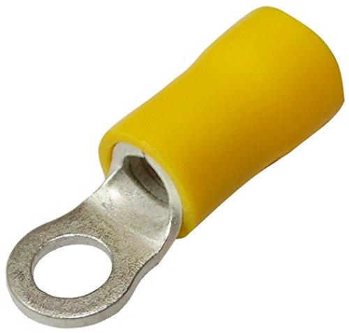 AERZETIX: 100x Cosses Electriques à Oeil - Oeillet - Isolées - M4 - Ø4,3mm - 4-6mm² - Jaunes