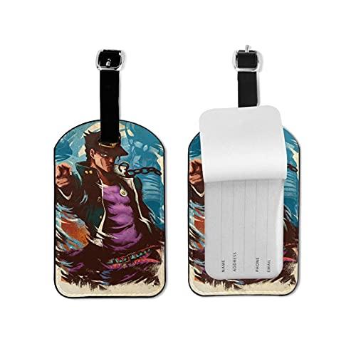Anime JoJo's Bizarre Adventure - Etiquetas de equipaje de cuero para maleta con funda de privacidad para viaje, diseño divertido con mini etiqueta de equipaje