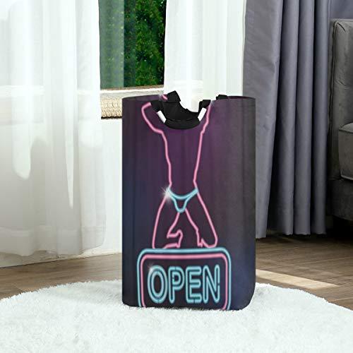 ZOANEN Wäschesack,Bachelorette Open Sign Silhouette des sexy Mannes Party Stripper,Großer faltbarer Wäschekorb,zusammenklappbarer Wäschekorb,zusammenklappbarer Waschvorratsbehälter