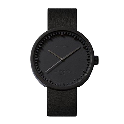Leff LT72003 Tube Watch polshorloge/metalen en lederen armband - zwart/leer: zwart