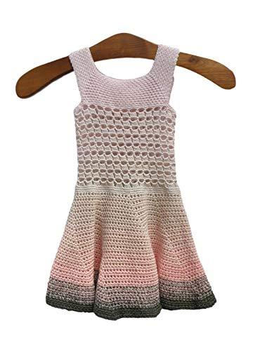 Sommerkleid gehäkelt für 3-4 Jahre junge Mädchen, Größe 104/110/kleine116