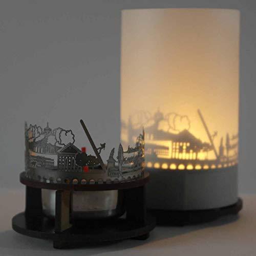 13gramm Kassel-Skyline Windlicht Schattenspiel Premium Geschenk-Box Souvenir, inkl. Kerzenhalter, Kerze, Projektionsschirm und Teelicht