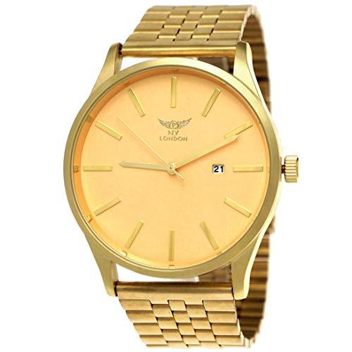 Große NY London Herren-Uhr Business Designer Armband-Uhr Analog Klassisch Quarz-Uhr in Gold mit Datumsanzeige