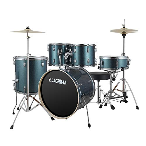 LAGRIMA 5 Piece 22 inch Full Size Complete Adult Drum Set with Adjustable Throne, Stainless Steel Cymbals, Pedal & 2 Drumsticks, Double Layer Oil Skins & Double Braced Hardware, Bright Star Blue