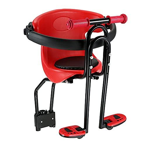 IKAYAAA Asiento de bebé para Bicicleta Emblema de Seguridad para niños Asiento Delantero Amortiguador de Silla con Respaldo Pedales de pie