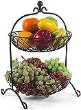 Soporte para cesta de frutas, Snack Fruit Placa, Buñuelo Snack Dip Bowls Dishware Double Metal Fruit Basket, Multifunción Sala de estar Cocina Placa de fruta Fruta y Verduras Snack Snack Snack Snack S