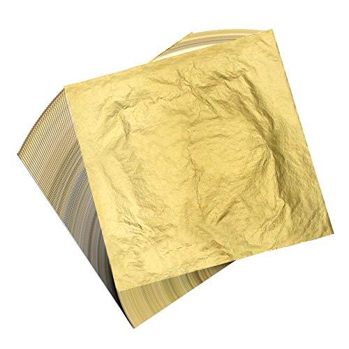 100 Hojas gold leaf pan de plata 16 por 16 cm Hojas de Pan de Imitación para Artesanía de Dorado, Proyectos de Artes, Decoración de Muebles Pan de Oro de Imitación para Artes, Artesanía de Dorado