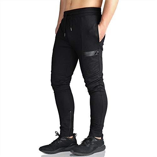 EK Men's Active Training Jogger Pants Workout Gym Slim fit Sweatpants Causal Leg Zipper (Black, Medium)