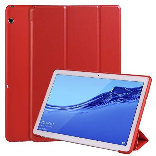 Liluyao Más Casos para Tableta For Huawei MediaPad T5 10 Pulgadas 3-Plegable del tirón Horizontal Cuero de la PU + TPU Caso a Prueba de choques de Nido de Abeja con el sostenedor (Color : Red)