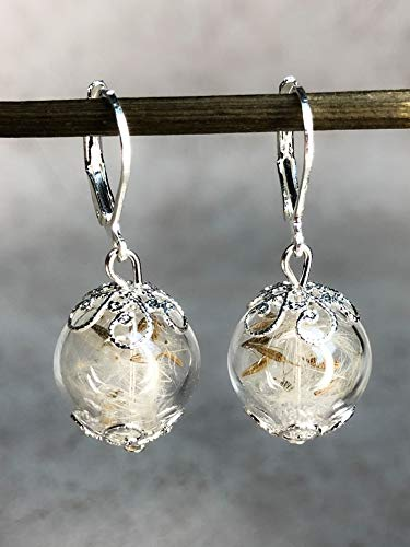 Echte Pusteblumen Ohrringe - Versilbert - inkl. Klappbrisuren - Hängend 3cm