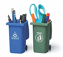 5 inches tall Mini Curbside Trash and Recycle Can Set best gift for women