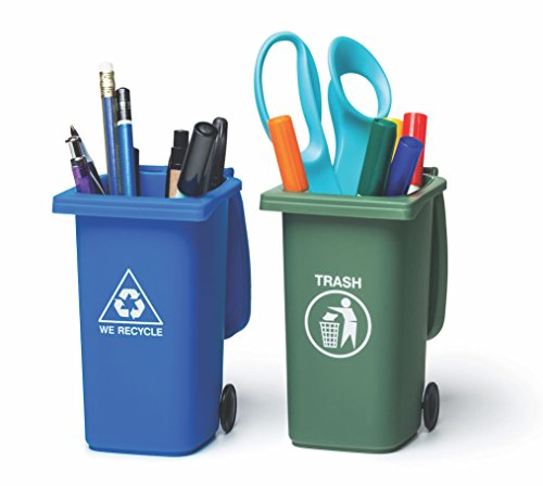 BigMouth Inc. Mini Curbside Trash and Recycle Can Set – Includes Two 5-inch Tall Desktop Organizers – Hilarious Mini Storage Containers with Closable Tops and Real Wheels, Makes a Great Gift
