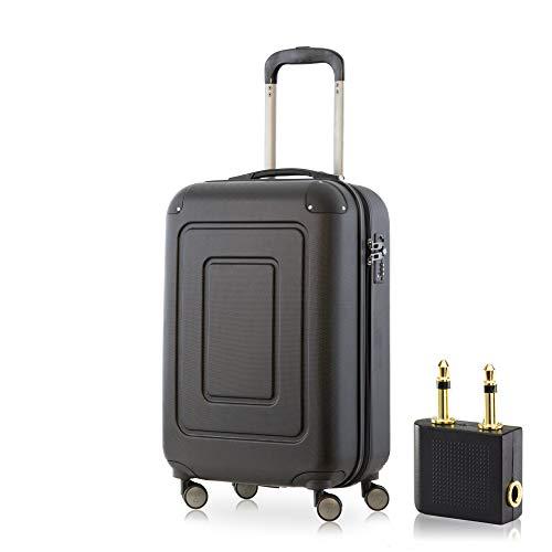 Happy Trolley - Lugano Handgepäck Kabinentrolley Bordgepäck Hartschalen-Koffer Trolley Reisekoffer, sehr leicht, TSA, 55 cm, 40L, Schwarz +Audio Adapter