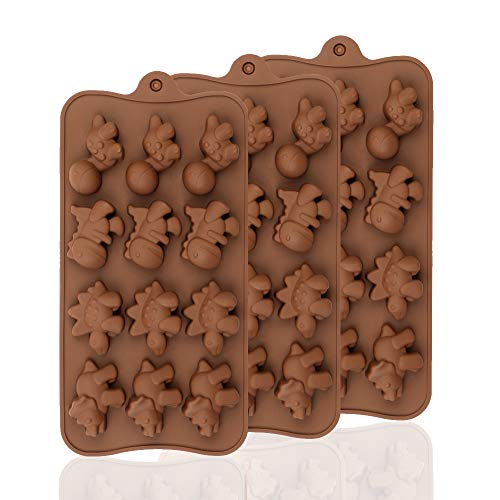 BREEZO Muffinblech aus Silikon für 3X 12er Silikon Backform Muffinform, antihaftbeschichtet für Muffins Cupcakes Kuchen Pudding Eiswürfel und Gelee, Mini Dinosaurier Schokolade 40mm x 30mm x 15mm