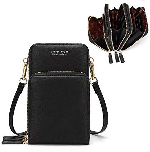 Handy Crossbody Frauen Kleine GeldböRse Brieftasche Leder Tasche Handy - mit Gurt KartenfäCher(Black)