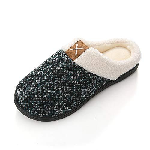 KISCHERS Damen Herren Hausschuhe Winter Warm Plüsch Gefüttert aus Memory-Baumwolle Drinnen Pantoffeln rutschfeste Slippers (40/41 EU, Blaugrau)