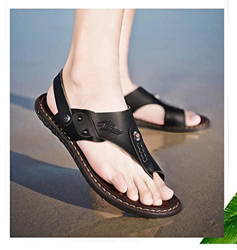 ypyrhh Sandalias de Talón Abierto para Mujer,Manejar Dos Sandalias, Zapatos de Playa al Aire Libre-Negro_40,Sandalias con Punta Abierta Hombre