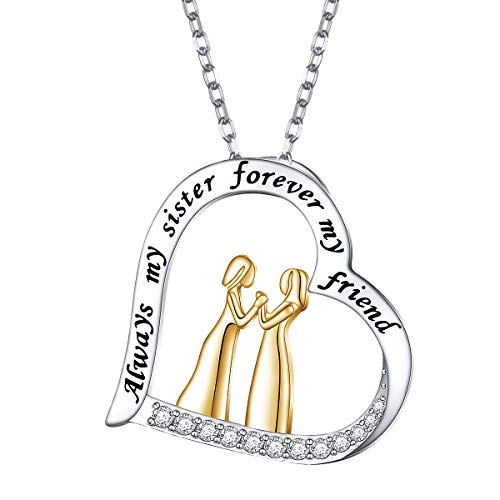 S925 Sterling Silver 2 Sister Jewelry Love Heart Engraved Always my sister forever my friend Pendant Necklace Gift for Women Sister Friend