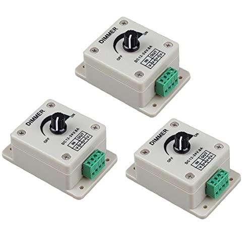 Interruptor LED regulador del amortiguador de PWM de Gaza Brillo luz atenúa mando de ajuste de un solo canal DC 12-24V 3PCS, los botones y los indicadores