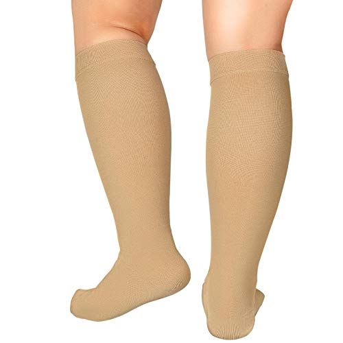 5XL Extra Wide Calf Compression Socks for Women Men 20-32 mmHg Knee High Plus Size