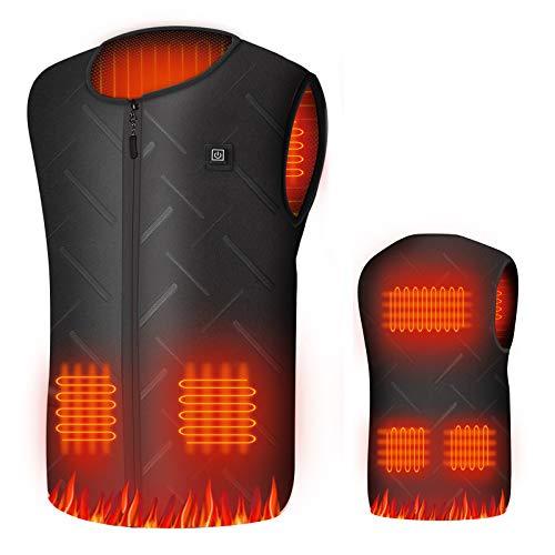 Beheizte Weste für Herren Damen, USB Elektrische Beheizbare Weste Jacke, 3 Einstellbare Temperatur, Infrarot-Heizung, Waschbare Heizweste für Winter Motorrad Skifahren Jagen Wandern Angeln (XXL)