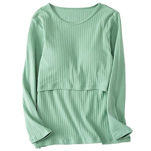 Miaoao Haut d'allaitement, vêtements de maternité for Les Femmes, Les Soins Infirmiers en Coton Manches Longues Hauts maternité Chemises Allaitement (Couleur : Green, Size : M)