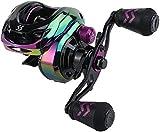 Sougayilang Baitcasting Reels - Colorful Fishing Reel, 8.0: 1 Gear Ratios, 18LB Sistema de frenado magnético Carretes de Pesca de fundición para Amantes de la Pesca en Agua Salada-L