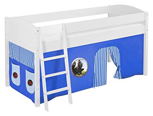 Lilokids Spielbett IDA 4106 Dragons Blau - Teilbares Systemhochbett weiß - mit Vorhang