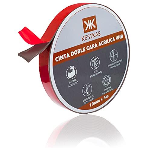 Cinta Adhesiva Doble Cara Extrafuerte VHB Gris 19mm x 5m x 2mm KESTKAS - Montaje - Coche - Exterior - Decoracion - Autoadhesiva - Impermeable - Alta Adherencia