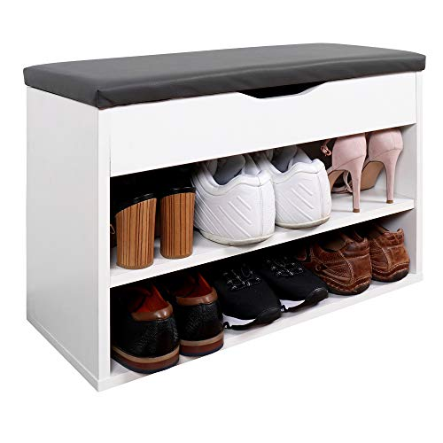 RICOO Sitzbank mit Schuhregal (WM032-W-A) Schuhbank Holz Weiß Sitzfläche mit Stauraum Polster Grau, BxHxT 60x42x29 cm Flur Garderoben-Bank Schuh-Schrank Schuh-Ablage Schuh-Kommode