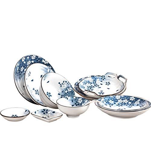 ZLDGYG Japanese-Style Ramen Bowl Cherry Blossom Tazón de Fideos Tazón de cerámica Vajilla Hotel Restaurante Rice Bowl Plato Cuchara