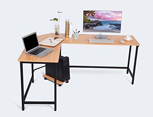 Generic uter De PC - Mesa de trabajo para ordenador portátil con forma de L (madera), diseño de L