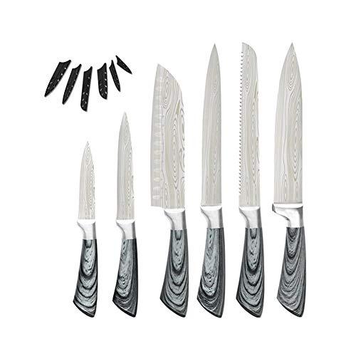 cuchillos Cuchillos de cocina Juego de herramientas de 8 '' cuchillo de cocina de almacenamiento de cortar Santoku Carne Pescado Cocinar sistema de herramienta de la espiga completa de la hoja