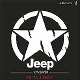 Stickers Kit 2 Adesivi Stella Effetto Consumato cm 20x20 per Auto Jeep, Moto, Fuoristrada 4x4 per fiancate o Cofano (Bianco)