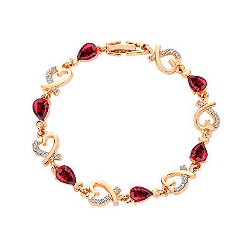 XQxiqi689sy Pulsera de diamantes de imitación de cristal con incrustaciones de corazón hueco para mujer, amor, día de San Valentín, boda, regalo de joyería nupcial, Cobre, circonita cúbica.,